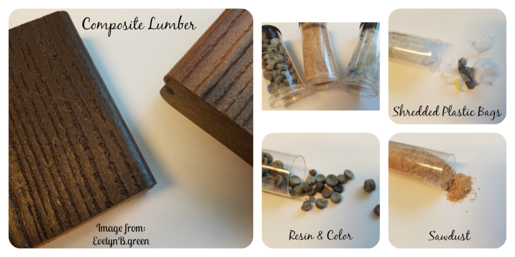 images of composite lumber, including its components: plastic flake, sawdust, and a binder