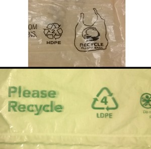 recycling symbols on plastic bags & plastic film